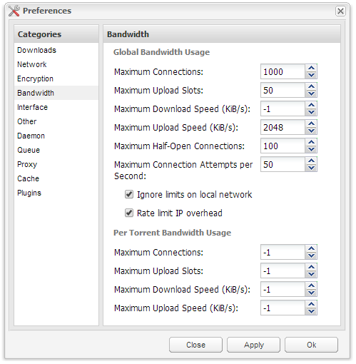 Deluge - Bandwidth Settings