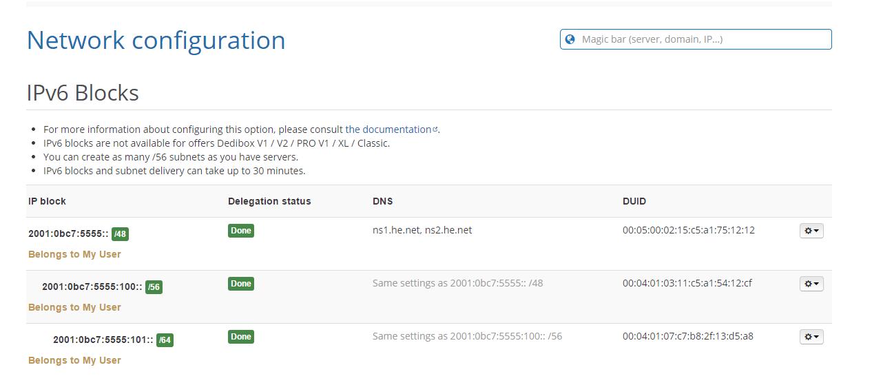 Online.net IPv6 Example Settings